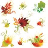 Vektor stellte 3 von bunten Herbstblättern ein Stockfotografie