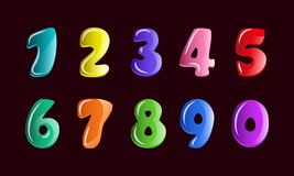 Vektor stellte für Kinderzahlen in der Karikaturart ein Blasenbabygüsse für das Kind, bunte Zahlen des Handabgehobenen betrages vektor abbildung