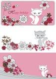 Vektor stellte mit Blumen und Katze ein Lizenzfreie Stockfotos