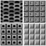 Vektor stellte mit Metallnahtlosen Mustern ein Stockbild
