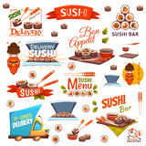 Vektor stellte mit Sushifahnen, Ikonen, Logo ein Stockfoto