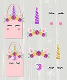 Vektor stellte mit Unicorn Tiara, Unicorn Horn, Strudel, Augen ein vektor abbildung