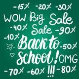 Vektor stellte zurück zu Schuleverkauf auf grüner Tafel ein Stock Abbildung