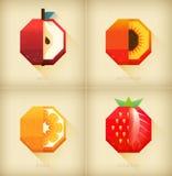 Vektor stilisierte die Früchte, die in Weinlesedesign eingestellt wurden Flache Sommerfruchtikone Bunte Karte oder Bild des Spaße Lizenzfreie Stockfotografie