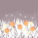 Vektor stilisiertes Feld mit Blumen lizenzfreie abbildung