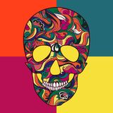 Vektor Sugar Skull med prydnaden Arkivfoto