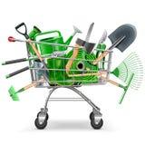 Vektor-Supermarkt-Laufkatze mit Garten-Zubehör Lizenzfreie Stockfotografie
