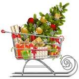 Vektor-Supermarkt-Pferdeschlitten mit Weihnachtsdekorationen lizenzfreies stockbild
