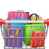 Vektor-Supermarkt-Warenkorb mit Einkaufstaschen vektor abbildung