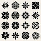 Vektor svartvita Mandala Lace Ornaments Collection Arkivbild