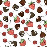 Vektor sweets seamless pattern: chocolates, cherries, strawberries for decorating cafes, packing sweets and more royalty free illustration