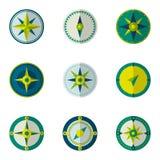 Vektor-Symbolsatz des Windrosekompassses flacher Lizenzfreie Stockfotografie