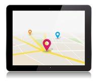 Vektor-Tablet-Karten-Standort-APP Stockfoto