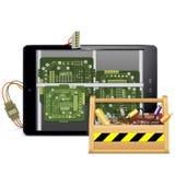 Vektor-Tablet-PC mit Werkzeugkasten Stockfotos