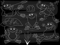 Vektor-Tafel-nette Karikatur-Frösche eingestellt