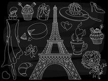 Vektor-Tafel-Paris-Satz Gekritzel Paris eingestellt auf schwarzen Hintergrund Liebe Paris Clipart lizenzfreie abbildung
