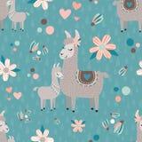 Vektor-Teal Mama Llama Seamless Pattern-Hintergrund lizenzfreies stockbild