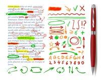 Vektor-Text-Korrektur-Elemente, Text-Probe, realistischer roter Stift stock abbildung