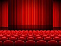 Vektor-Theater Hall mit roten Vorhängen Stockfotografie