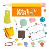 Vektor tillbaka till skolaobjekt Royaltyfri Fotografi