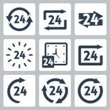 Vektor '24 timmar' symbolsuppsättning Fotografering för Bildbyråer