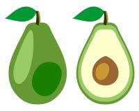 Vektor trägt Illustration Früchte Ausführliche Ikone der Avocado, ganz und halb, lokalisiert über weißem Hintergrund Lizenzfreies Stockfoto