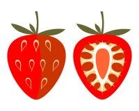Vektor trägt Illustration Früchte Ausführliche Ikone der Erdbeere, ganz und halb, lokalisiert über weißem Hintergrund Lizenzfreie Stockfotografie