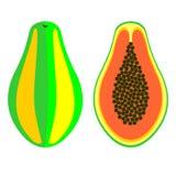 Vektor trägt Illustration Früchte Ausführliche Ikone der Papaya, ganz und halb, über weißem Hintergrund Lizenzfreie Stockbilder