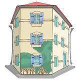 vektor Traditionellt gult stenhus i Provence royaltyfri fotografi