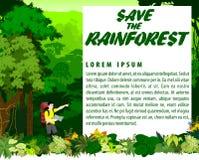 Vektor-tropischer Regenwaldhintergrund mit Wanderer Stockfotografie