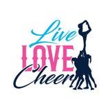 Vektor Typo Live Love Cheer Silhouette lizenzfreie abbildung
