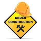 Vektor under konstruktionstecken med hjälmen stock illustrationer