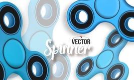 Vektor-Unruhe-Spinner-Fahnen-Schablone realistisches modernes Entspannungs-spinnende Gerät-Fahne des Vektor-3D Lizenzfreie Stockfotografie
