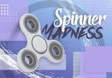 Vektor-Unruhe-Spinner Realistische spinnende Unruhe 3D spielen auf moderne Zusammenfassungs-geometrischem Hintergrund der Art-90s Stockbilder