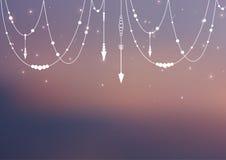 Vektor unscharfer Hintergrund mit boho Elementen und magischem Glanz Netzfahne und -hintergrund Stockbilder