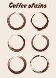 Vektor-unterschiedlicher Kaffee befleckt Zusammenfassungs-gesetzte Illustration Lizenzfreie Stockfotografie
