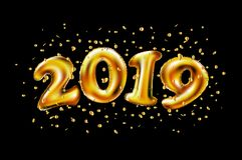 Vektor 2019 Uppblåsbara guldnummer på bakgrunden av det svarta nya året för stenvägg royaltyfri illustrationer