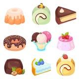 Vektor - uppsättning av läckra sötsak- och efterrätttecknad filmsymboler Royaltyfri Bild