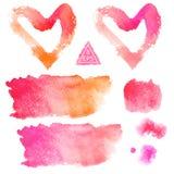 vektor Uppsättning av rosa och orange vattenfärgfläckar Royaltyfria Foton
