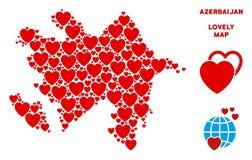 Vektor Valentine Azerbaijan Map Composition av hjärtor vektor illustrationer