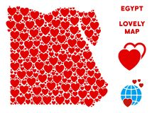Vektor Valentine Egypt Map Collage av hjärtor stock illustrationer