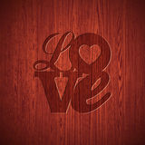 Vektor-Valentinsgruß-Tagesillustration mit graviertem Liebestypographiedesign auf hölzernem Beschaffenheitshintergrund Lizenzfreies Stockbild