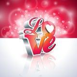 Vektor-Valentinsgruß-Tagesillustration mit Typografiedesign der Liebe 3d auf glänzendem Hintergrund Lizenzfreies Stockbild