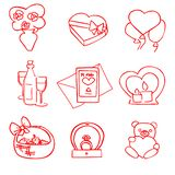 Vektor-Valentinsgrußtagessatz der netten Karikatur roter lizenzfreie abbildung