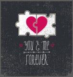 Vektor-Valentinsgrußkarte, Liebeskonzept Sie und ich für immer, zwei Teile verwirren mit Herzen Lizenzfreie Stockfotos