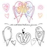 Vektor-Valentinstag eingestellt in dotwork Art Punktierte Paare von Papageien in der Liebe in Schwarzem und Pastell und Herzen lo Stockbild
