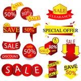 Vektor-Verkauf etikettiert, Aufkleber Lizenzfreies Stockfoto
