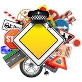 Vektor-Verkehrsschilder mit Auto-Teilen Lizenzfreie Stockfotos