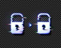 Vektor-Verschluss und setzen die glühenden Ikonen mit Störschub-Verzerrungs-Effekt lokalisiert frei und zerhacken Konzept-Illustr vektor abbildung