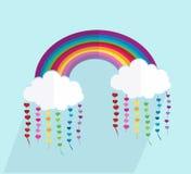 Vektor verwittert Ikonen Regenbogen bewölkt sich mit langen Schatten und Herzen vector Illustration stock abbildung